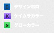 D=デザインホロ, K=ケイムラ、G=グロウ